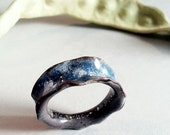 Blue Enamel Clouds Sky Band Ring