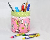 Pencil Holder / organizer - Recycled Tin Can  - Pink and Green Polka Dots - 100% Cotton fabric - Back to School