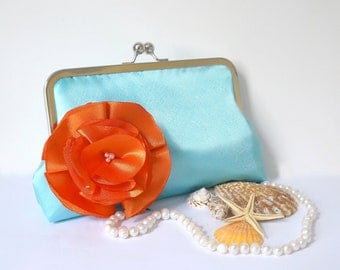 Customize Your Bridesmaid Gifts or Clutch Purse- Blue and Orange