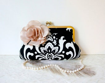 Black and White Damask Clutch Purse with Champagne Flower- Black, Gold, Champagne Wedding