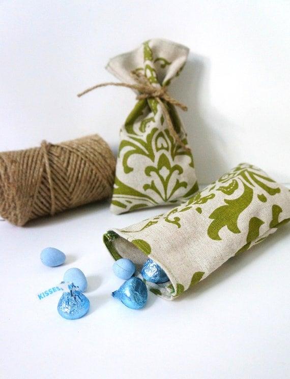 Green Damask Favor Bag