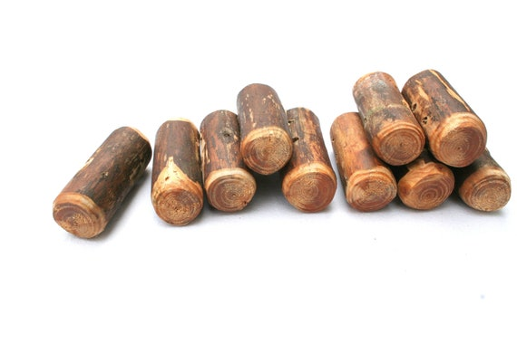 """Toggle buttons - chunky set of 10 wood toggle buttons with 2 holes - 1 1/2"""" - needlecraft supply"""