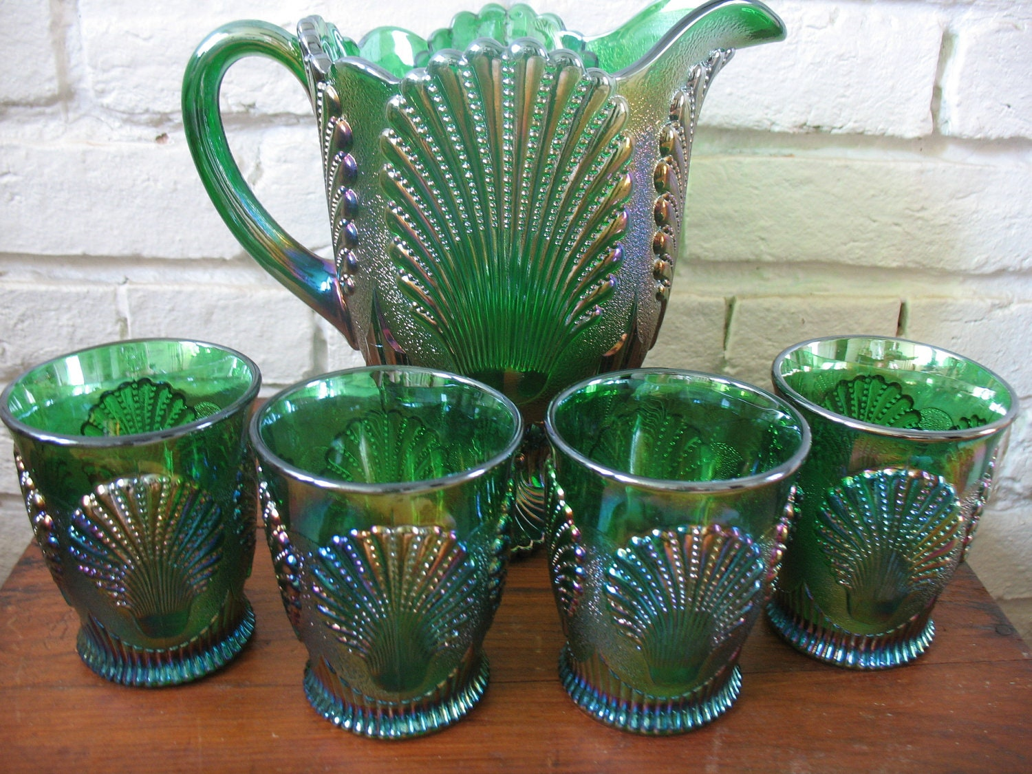 Vintage Moser Carnival Glass Pitcher And Glasses Shell