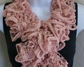Ruffle lace soft pink scarf handmade crochet