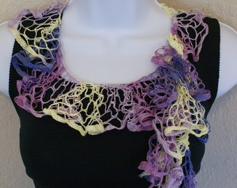 Ruffle scarf handmade  crochet lace and soft yellow purple lilac scarf or belt for spring and summer