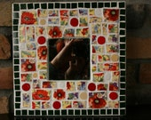 Poppy Plates Green Tile and Circles Mosaic Mirror