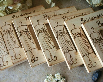 Rustic Chic Wedding Set of 7 Bridal Party Gifts Thank You Keepsakes Personalized Bridesmaid Gifts with YOUR Dress engraved on the Frame