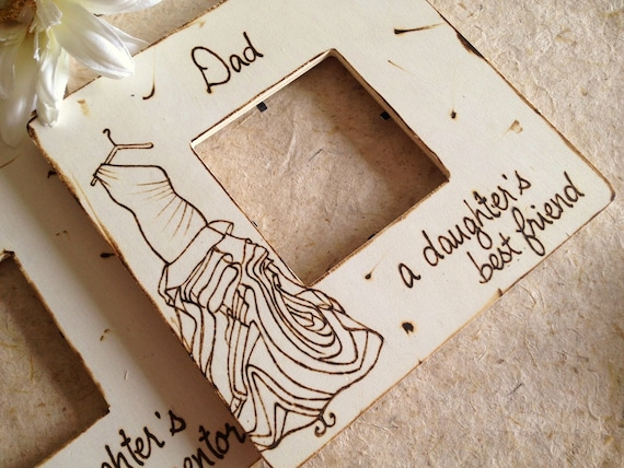 Father's Day Gift for Dad Father of the Bride with YOUR Dress Engraved on the Frame A Daughter's First Love