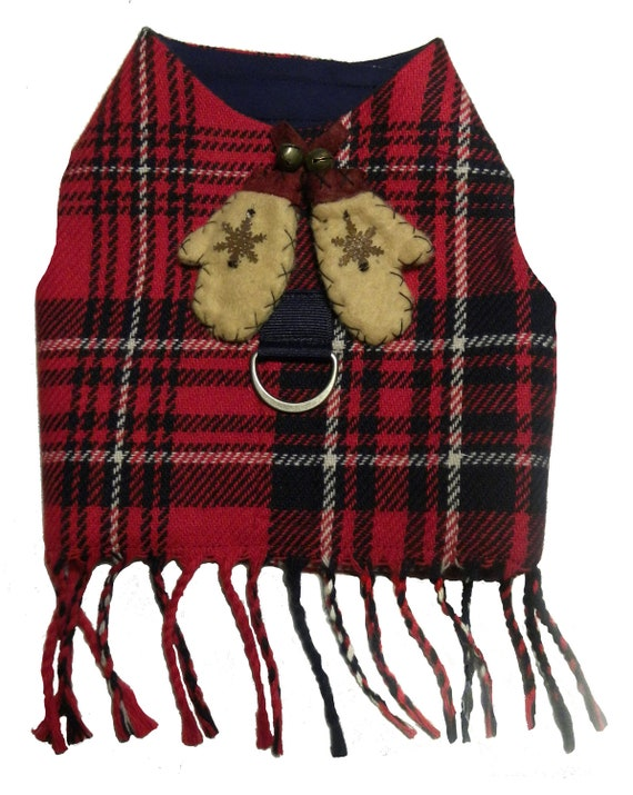 Winter Mittens Wool plaid harness vest with self fringe                   and vintage embellishments
