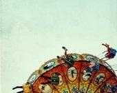carnival photograph // nursery art // kids modern art print //  aqua, orange, yellow // santa cruz art - Flight I, 8x8 photograph