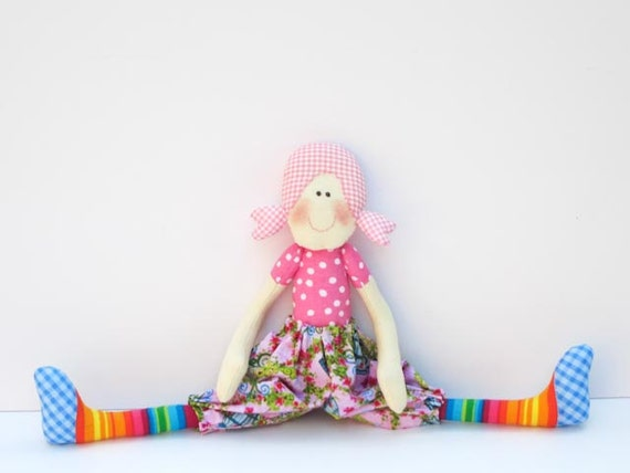 Cloth doll softie,stuffed doll,cute textile doll for little girls child friendly fabric doll pink orange blue, plushie- Gift  for girls.