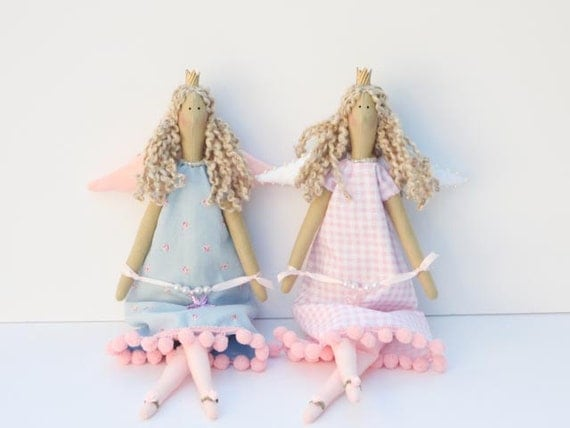 Two Angel Princess dolls - cloth doll pink blue,art doll stuffed doll softie plush- birthday and Easter gift for girl