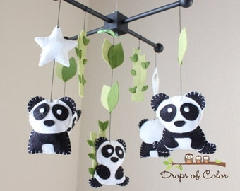 Baby Mobile - Baby Crib Mobile - Nursery Family Pandas Mobile - Panda Mobile - Bamboo Trees Mobile (You can pick your colors)