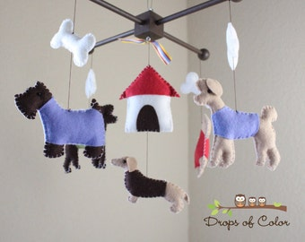 Baby Crib Mobile - Baby Mobile - Dogs & Bones Mobile - Nursery Dogs Baby Mobile Decor - Kids Playroom (You can pick your colors)