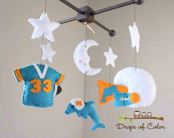 "Baby Crib Mobile - Baby Mobile - Football Dolphins Mobile - Boy Mobile - ""Your Own Football Team Design"" (You can pick your colors)"