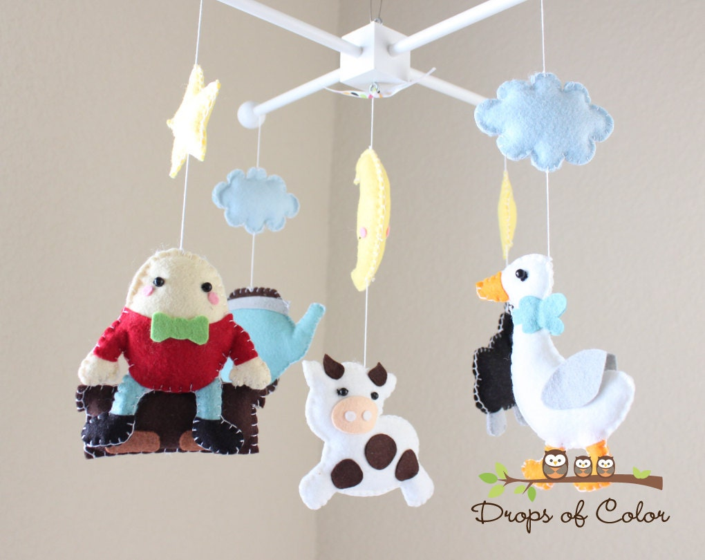 Baby Crib Mobile Baby Mobile Mother Goose Mobile Nursery