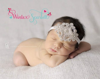 20% off entire order...Rhinestone Beaded Headband, Couture Crystal Wedding Headpiece, baby headbands, newborn headbands,