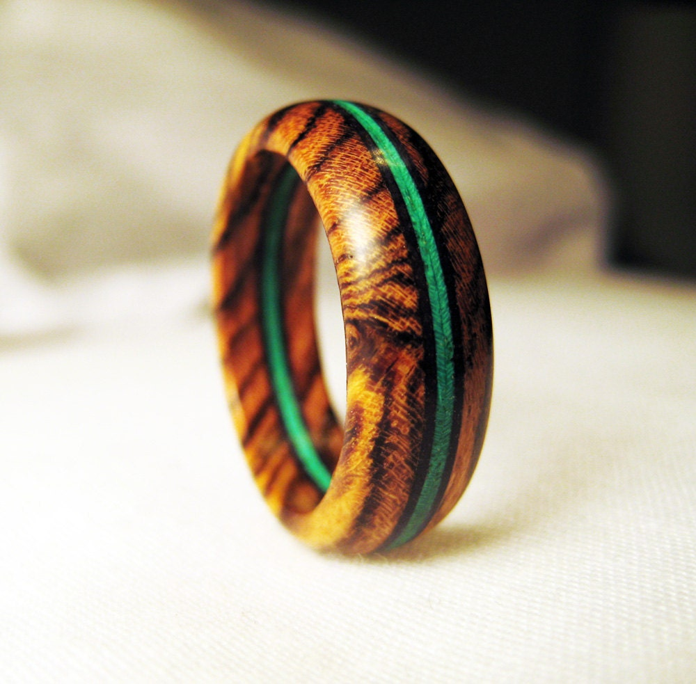 Bocote wood ring with bright green veneer for How to make a wooden ring
