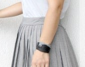 Unique Leather Cuff, black gray, leather forms