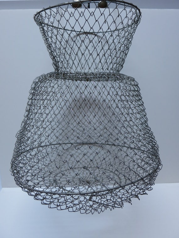 Wire fishing basket metal collapsible hanging by vintagetab for Fish wire basket