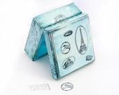 Blue Paris Vintage Wooden Box, Treasury  Box ,  Jewelry box , distressed box , ohtteam