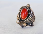 Vintage Navajo Ring Red Coral Silver Feather Signed