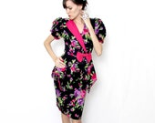 Vintage 80's Peplum Floral Wiggle Dress