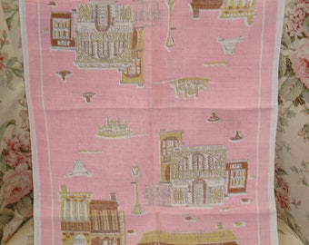 Suzanne Meister  New Orleans tea towel-pink-shabby-mid century-retro-vintage linen tea towel.