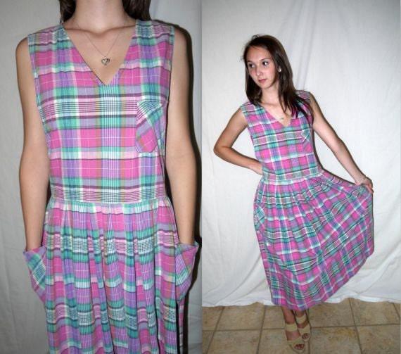 Vintage Grunge Plaid Dress Sundress Maxi / Madras Sleeveless Sundress / 80s 90s Drop Waist Dropwaist / S M