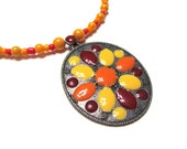 ON SALE 50% OFF Red Orange Yellow Fall Flower Necklace