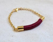 ELIXIR // gold rope bracelet // burgundy
