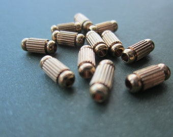 Brass Ribbed Column Beads 20 Pcs.