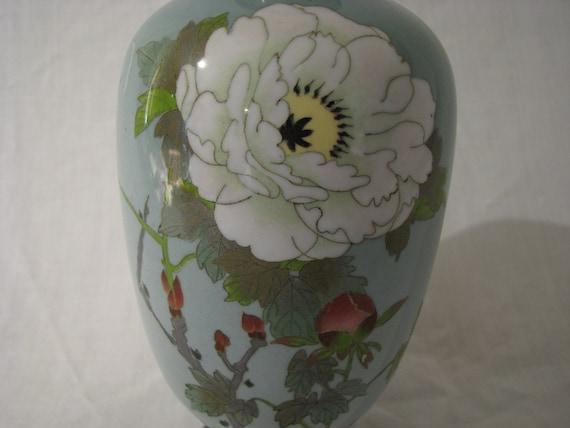 Japanese Cloisonne Vase Chrysanthemum on Blue
