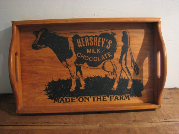Hershey's Made On The Farm Chocolate Primitive Cow Wooden Tray