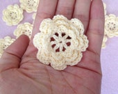 "20pc Ivory Eight Petals 2"" Crochet Flower Applique Sewing Embellishments linmo7"