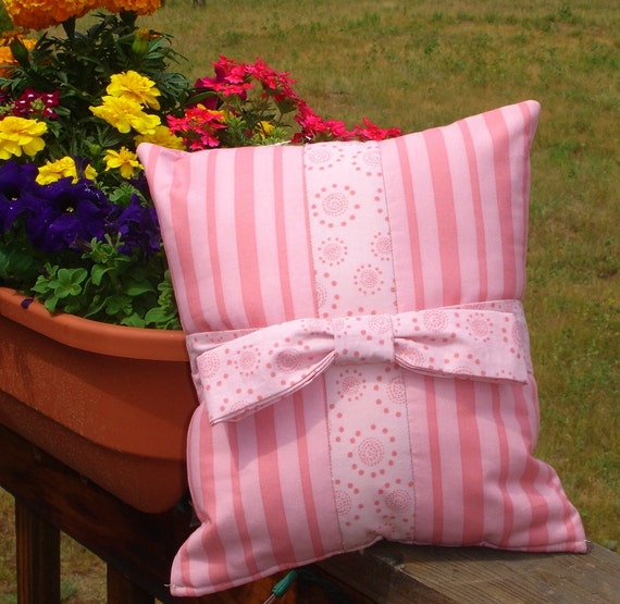 Ribbon and Bow Pink on Pink Decorative Pillow