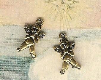 DOLLAR DEAL, Antique Gold Praying Angel, Cherub, Cupid Charm-4 pieces