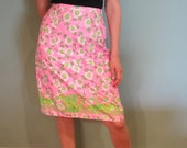 SALE-Lily Pulitzer A-Line Daisy Skirt Pink &Green Pattern