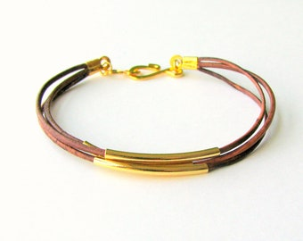Thin Brown Leather Bracelet with Gold Tubes
