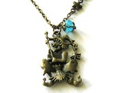 Witch with a broom necklace jewelry stars and moon necklace antique brass bronze witch necklace