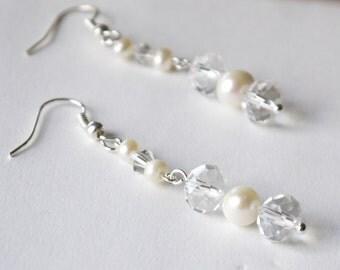 crystal pearl earrings - clear crystal and ivory white freshwater pearl silver fish hook dangle bridal wedding earrings