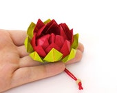 Red origami lotus flower