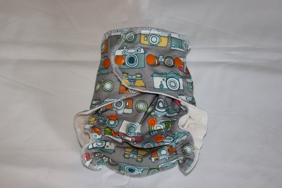 """Cheeky Cloth One Size 100% Organic Bamboo AI2 Diaper """"Picture This"""""""