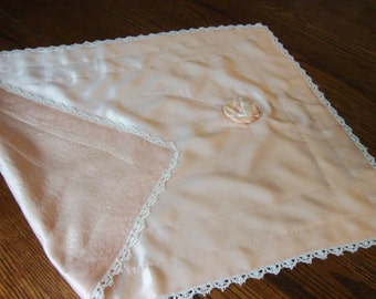 Silk Pillow Overlay Hand Crocheted Trim Vintage Baby Pillow Cover