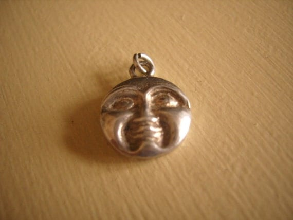 Vintage Silver Man In The Moon Face double sided charm  -Lovely Detail