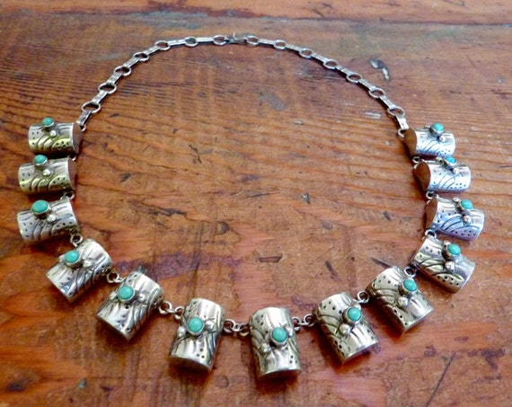 Vintage Taxco Mexico Mexican Sterling Silver Turquoise Barrel Necklace 14675