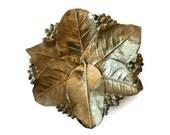 Virginia Metalcrafters Leaf Bowl, Lemon Leaves in Brass