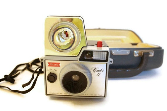Ansco Cadet II Vintage Camera with Flash Attachement and Case