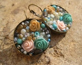 Cream, Teal, and Beige Rose Antique Bronze Earrings
