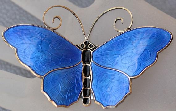 Vintage David Andersen Norway Blue Enamel Large Guilloche Butterfly Brooch Pin Reserved